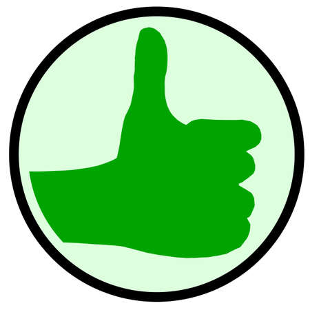 all right: A green hand giving the thumbs up sign all over a white background