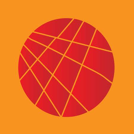 sectioned: A red disc sliced over an orange background Illustration