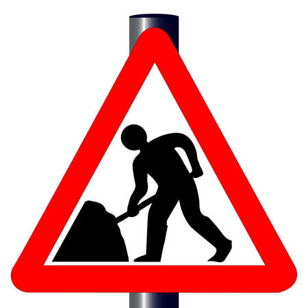 roadworks: The traditional men working triangle, traffic sign isolated on a white background.. Illustration