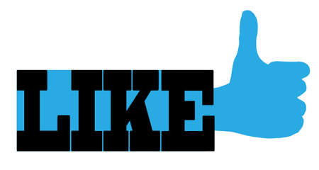 all right: A like text blue thumbs up sign over a white background