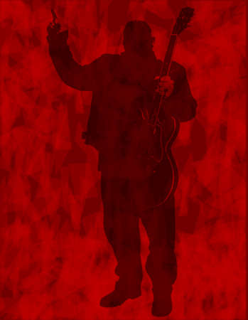 rock guitarist: A background of dark red with the silhouette of a heavy rock guitarist Illustration
