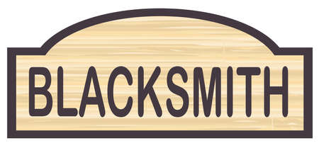 Blacksmith store stylish wooden store sign over a white background Illustration