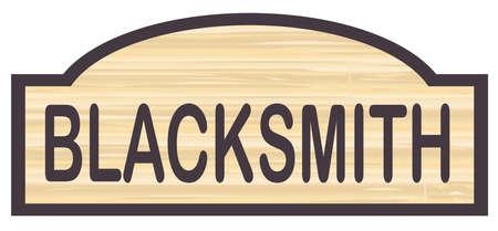 blacksmith: Blacksmith store stylish wooden store sign over a white background Illustration
