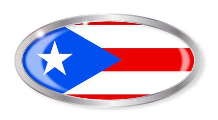 bandera de puerto rico: Botón de plata oval con la bandera de Puerto Rico aislado en un fondo blanco