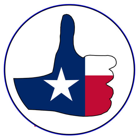 all right: A Texan flag hand giving the thumbs up sign all over a white background