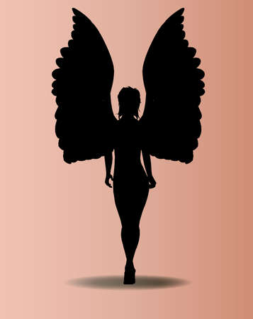 Silhouette of an angel with raised wings