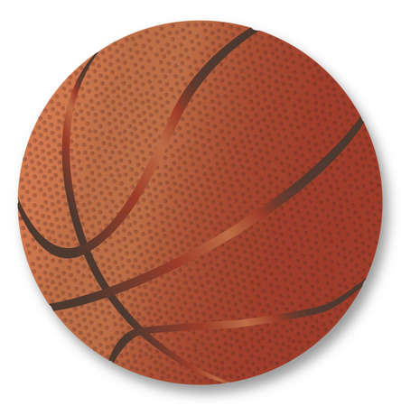 A large brown basketball with dimples isolated on a white background.