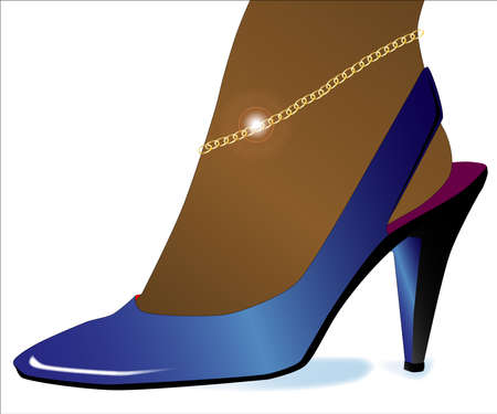 ankles sexy: A ladies blue high heel shoe with an ankle bracelet in gold Illustration