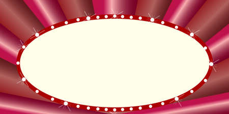 las vegas lights: A blank oval cinema theatre marquee with light bulbs