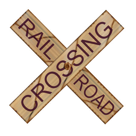 railroad crossing: A worn railroad crossing sign over a white background Illustration