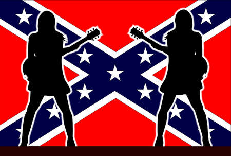 guitarists: Rebel Flag behind the silhouette of two girl guitarists
