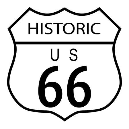 historic: Route 66 traffic sign over a white background and the state legend historic