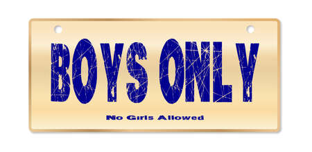 woodgrain: Boys Only plaque in woodgrain with fixing holes over a white background with love cartoon hearts