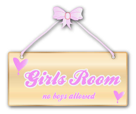 woodgrain: Girls room plaque in woodgrain with pink ribbon and bow over a white background with love cartoon hearts