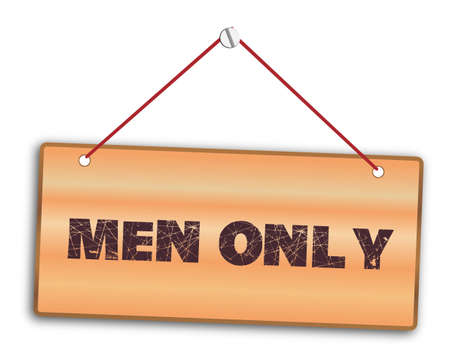 Men only sign in woodgrain with red string and screw