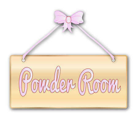 powder room: Powder room plaque in woodgrain with pink ribbon and bow over a white background Illustration