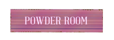 powder room: A worn powder room sign over a white background Illustration