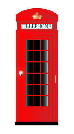 telephone box: A typical United Kingdom red telephone box over a white background Illustration