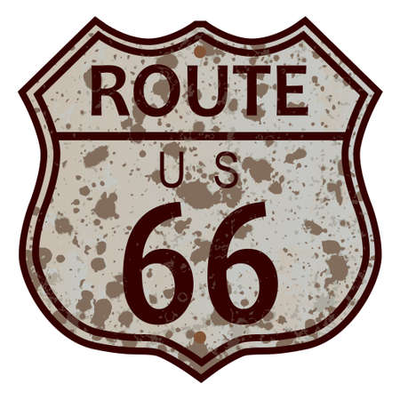 weathered: Weathered Route 66 traffic sign over a white background Illustration