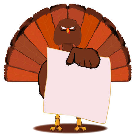 stern: A stern look from a traditional Christmas or Thanksgiving Turkey hold notepaper over a white background