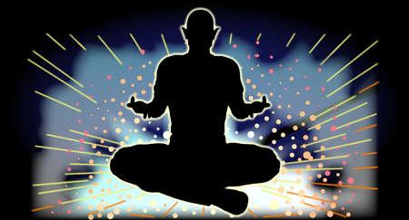 sukhasana: Sukhasana  Yoga Pose over a flashing background of sparks and light
