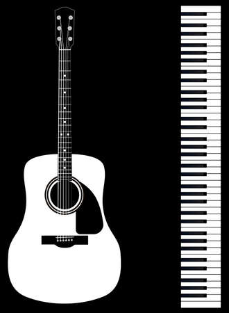 Black and white piano keys and a white acoustic guitar set against a black background Illustration