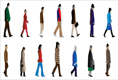 strutting: A collection of small cartoon style figures walking