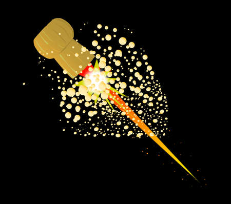 popping cork: A cork flying from a champagne bottle with rocket flames