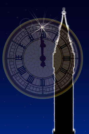 london night: Big Ben at new year with the brightest star and a faded Big Ben clockface at midnight Illustration