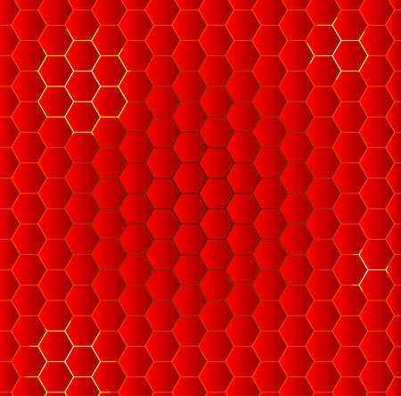 yellov: A honeycomb of red hot polygon shapes with yellov backdrop Illustration