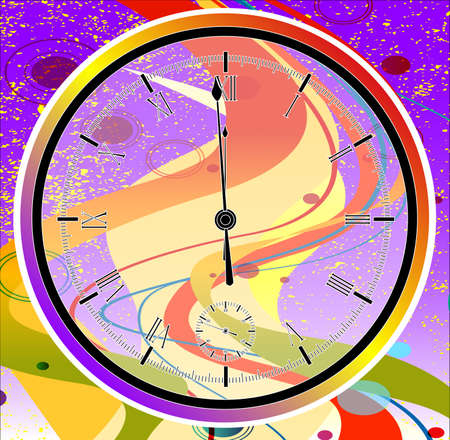 A purple jazz grunge with a new year midnight clock face