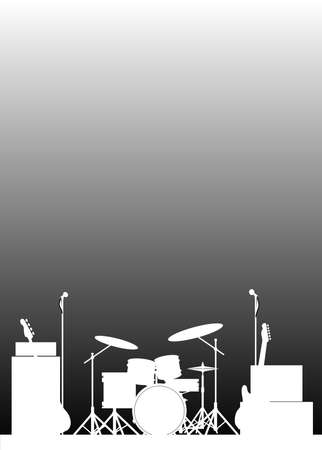 Cymbals: White Silhouette of a rock bands equipment on stage as a poster