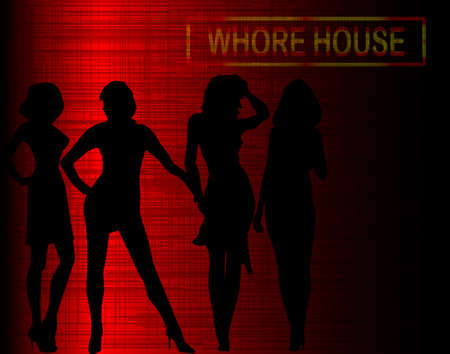 whore: A group of prostitutes gathering below a whore house sign