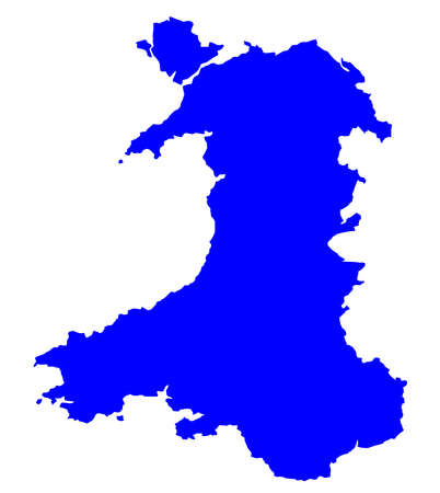 cymru: Silhouette map of Wales in the United Kingdom