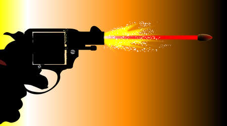 six shooter: A snub nose revolver pistol firing with muzzle flash and speeding bullet. Illustration