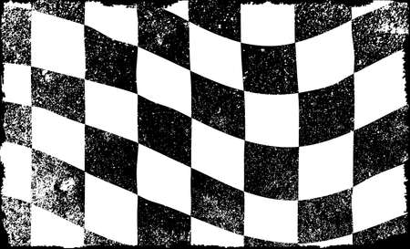 chequered: A grunge chequered race event flag in black and white