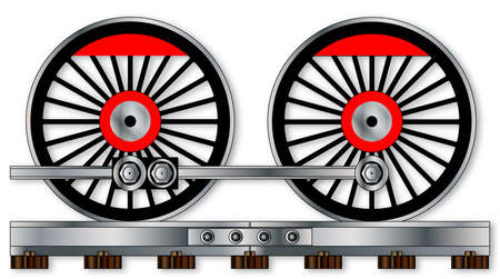 castings: A pair of connected steam train driving wheels isolated on white