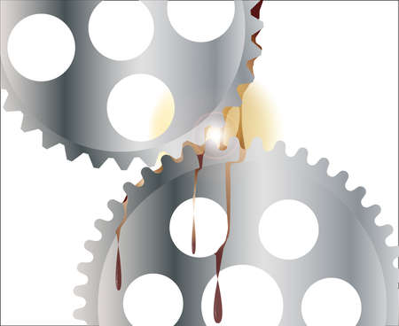 between: Two interlocking gears with oil and a bright light between the teeth