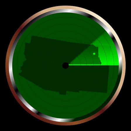 blip: The screen of a typical radar device in green sweeping over Arizona