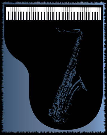 venue: A piano and saxophone venue poster background