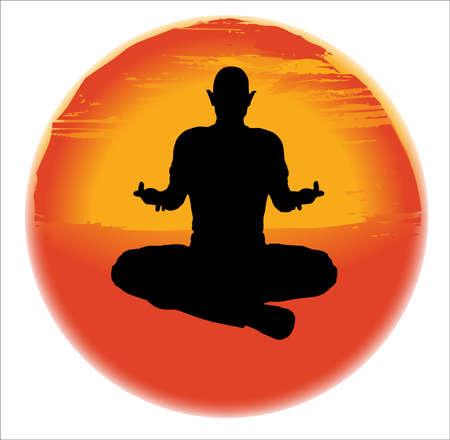 sukhasana: large hazy sun set over a white background with a mane practicing The Sukhasana Pose
