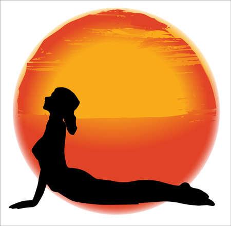 bhujangasana: large hazy sun set over a white background with a woman practicing the Bhujangasana pose Illustration