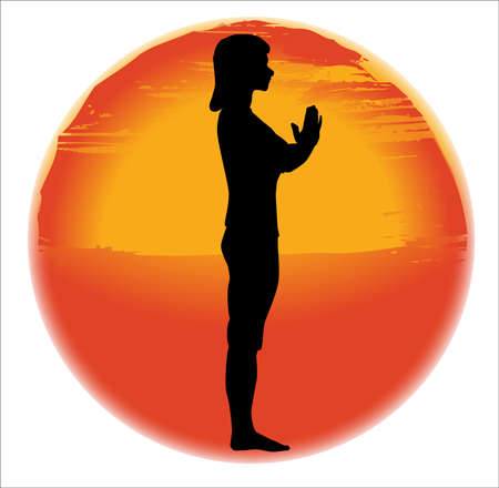 salutation: large hazy sun set over a white background with a woman practicing the salutation pose
