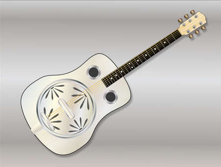 hollow body: A metal resonator guitar over a metallic background