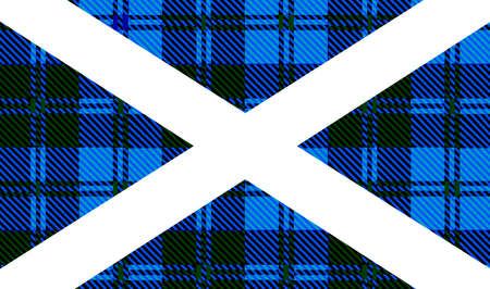 spoof: Flag Of Scotland with a spoof blue tartan baclground