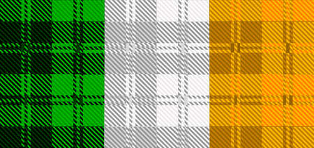 celts: The Irish flag created from traditional tartan designs Illustration