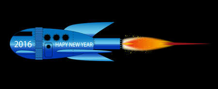 portholes: A cartoon space craft with a black background and the text 2016 Happy New Year