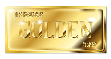 A fabulous golden ticket over a white backround