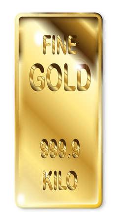 ingot: A 1 kilo ingot of fine gold