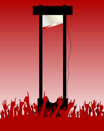guillotine: Hands raised in the air at a guillotine execution
